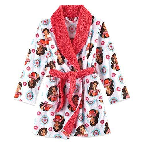 Disney Elena of Avalor Girls Fleece Bathrobe Robe (6, White/Red)