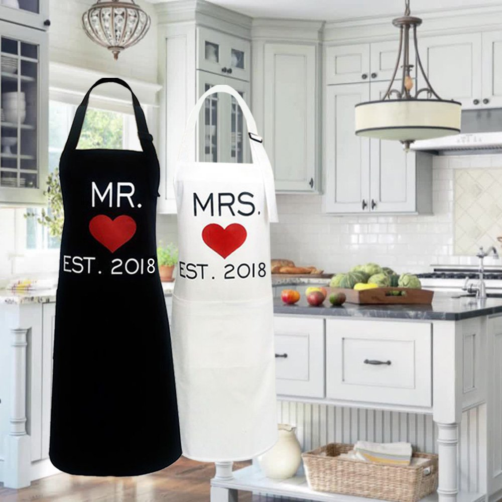 KMCH Mr. and Mrs.2018 Couples Kitchen Aprons Funny Cooking Bibs Gifts For Wedding Newlyweds His and Hers Sets (2 Pieces a Set) by KMCH (Image #7)