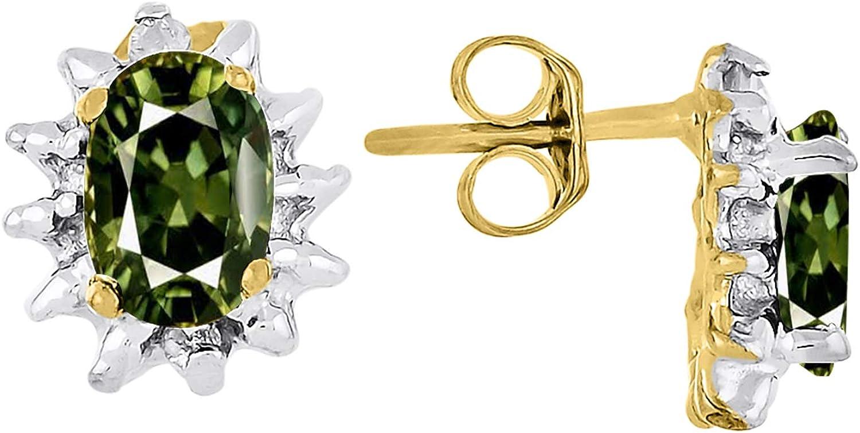 RYLOS - Pendientes de mujer con forma ovalada, piedra preciosa de color y diamantes brillantes auténticos en oro amarillo de 14 K - 6 x 4 mm esmeralda, rubí y zafiro