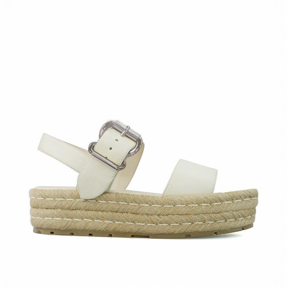 DHG Ein-Knopf-Schnalle Plattform Sandalen Sandalen Urlaub Hochhackigen Studenten Open-Toe-Schuhe,Weiß,37