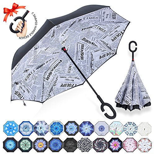 ZOMAKE Double Layer Inverted Umbrella Cars Reverse Umbrella, UV Protection Windproof Large Straight Umbrella for Car Rain Outdoor With C-Shaped Handle by ZOMAKE