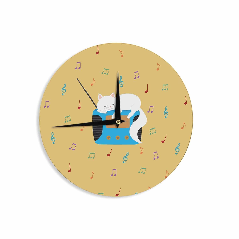 12 Wall Clock Kess InHouse Cristina Bianco Design Sleeping Cat-Vintage Radio Yellow White Illustration