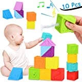 BLLKE Baby Blocks, Soft Building Blocks for Toddlers Stacking Blocks, Squeeze Teething Chewing Toys Educational Baby Bath Play with Shapes Animals Textures Baby Toys
