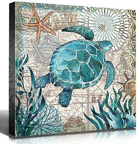 "Bathroom Decor Sea Turtle Pictures Painting Wall Art Beach Decor Canvas 12/""x16/"""