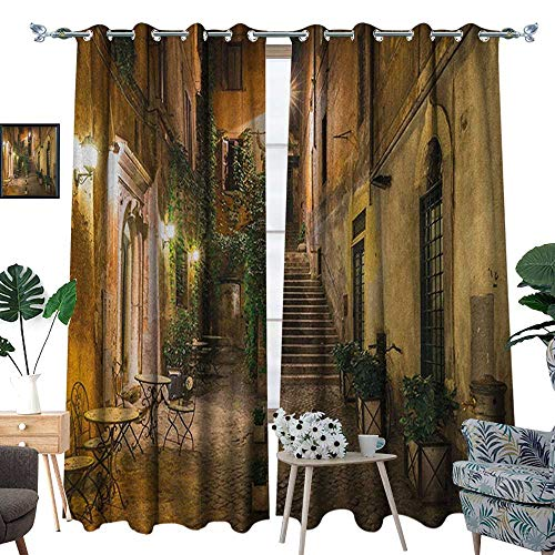 Warm Family Italian Window Curtain Drape Old Courtyard Rome Italy Cafe Chairs City Historic Ambience Houses Street Decorative Curtains for Living Room W108 x L96 Orange Brown Green