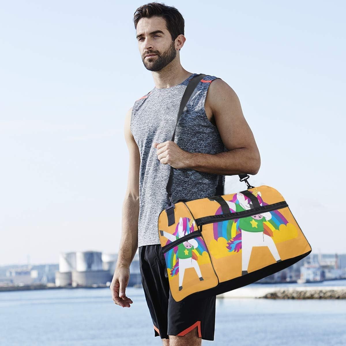 Travel Duffels Unicorn Doing Dabbing The Rainbow Duffle Bag Luggage Sports Gym for Women /& Men