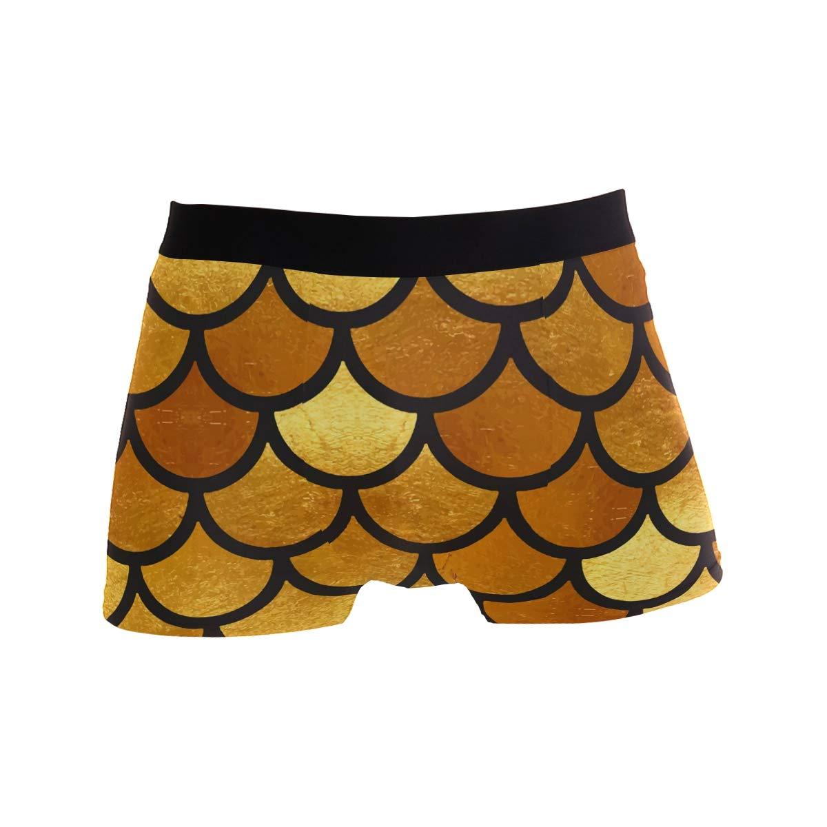 Sea Fish Mermaid Golden Short Underwear Soft Stretch Underpants for Men Boys S-XL BETTKEN Mens Boxer Briefs