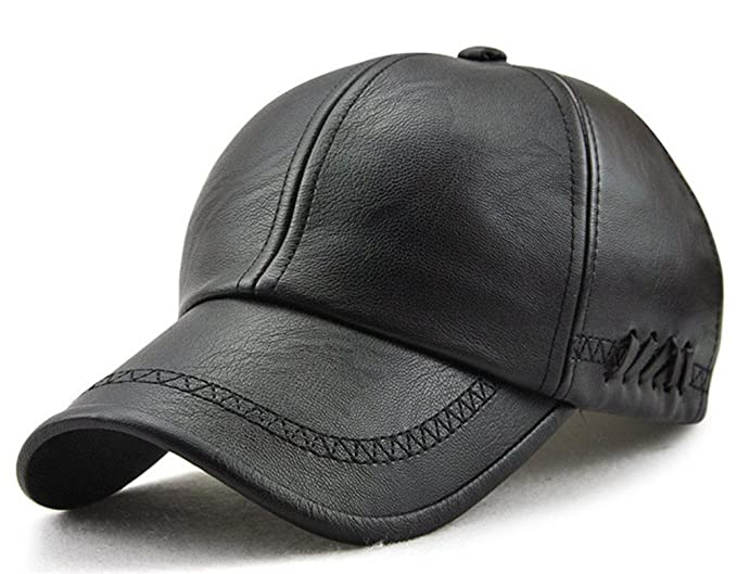 Roffatide Mens Embroidered Soft PU Leather Straps Dad Hat Baseball Cap Strapback Autumn and Winter Black