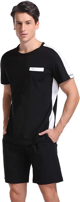Hawiton Mens Pajamas Set,Short Sleeve T-Shirt top /& Shorts 2 Pieces Sleepwear Nightwear PJ Set