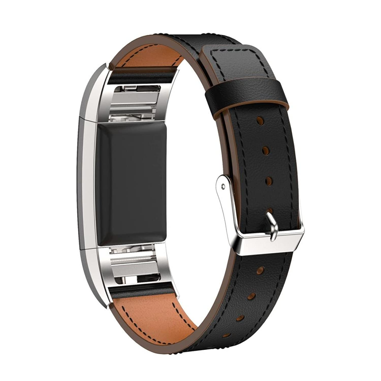 AloneA交換用高級レザーバンドストラップブレスレットfor Fitbit Charge 2 (ブラック)  B01M1Z1314