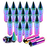 SCITOO Lug Nuts Neo Chrome 20 M12X1.5 20pcs Cap Spiked Extended Tuner 60mm Aluminum Wheels Rim fit Honda Toyota