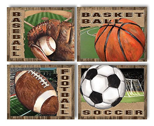4 Popular American Sports Set Basketball Baseball Football And Soccer Four 10x8 Poster Prints