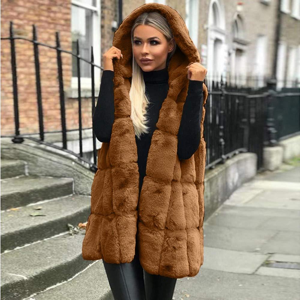 Manteaux sans Manche Femme Mode Veste Blouson en Fausse Fourrure Garder au Chaud Élégant Gilet Outerwear S-2XL Marron