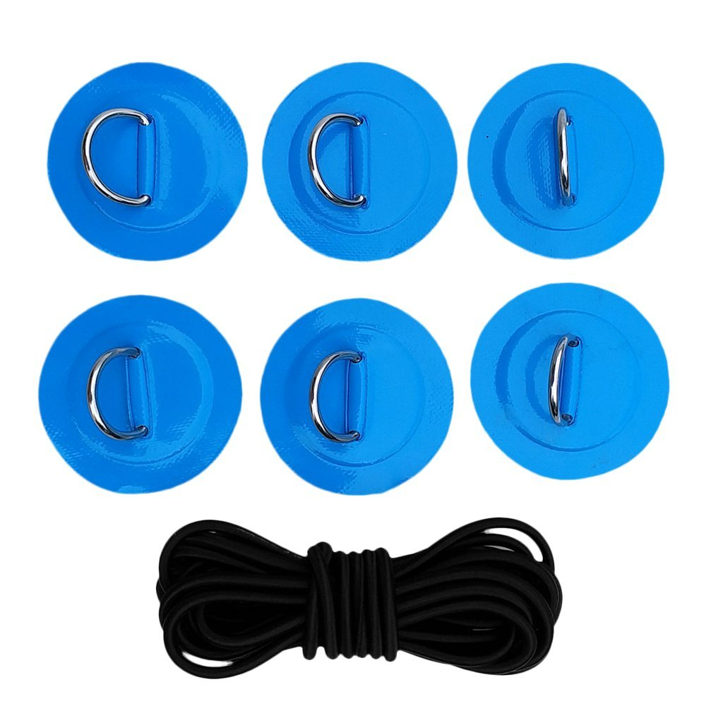 YiMusic Heavy Duty SUP Bungee Deck Rigging Kit with 6 Pieces Stainless Steel D-Ring Patch Suit for PVC Inflatable Boat Kayak Canoe Deck Accessories (Blue) by YiMusic