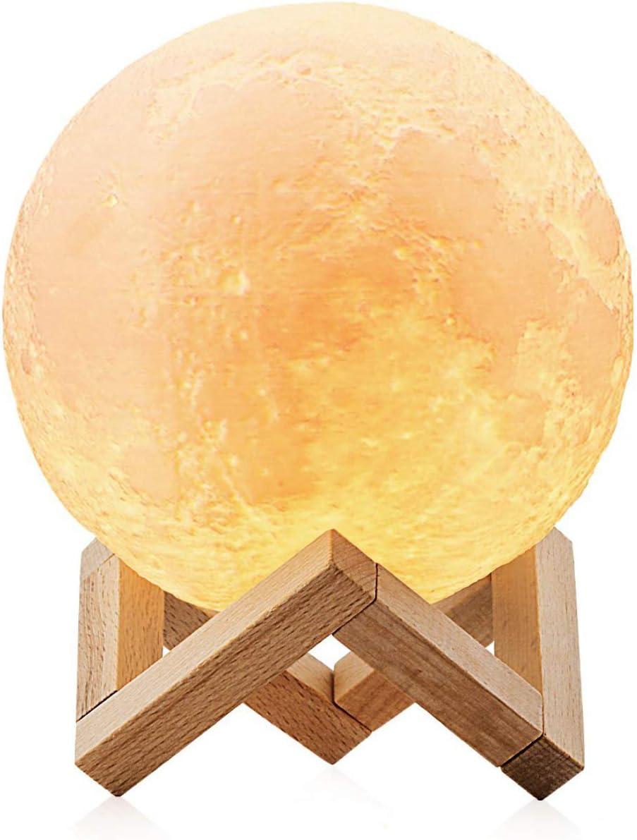 Lampara Luna 3D LED Moon Lamp, AUELEK 15cm Lámpara magica de Luna, 3 Colores Control Táctil, Recargable de USB, Lámpara para Decoración Habitación, Regalo de Cumpleaños, Año Nuevo y Aniversario