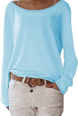 Mujer Camisas Suelta Cuello Barco Manga Larga T Shirt Blusas Tops Casual Colores Lisos Camisetas Remata Jerséis