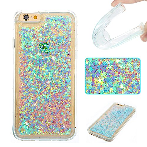 iPhone 6 Case, iPhone 6S Case,DAMONDY 3D Cute Bling Liquid Glitter Floating Quicksand Diamond Water Flowing Ultra Clear Soft TPU Case for iPhone 6 6s (4.7 Inch) ONLY -sliver blue star