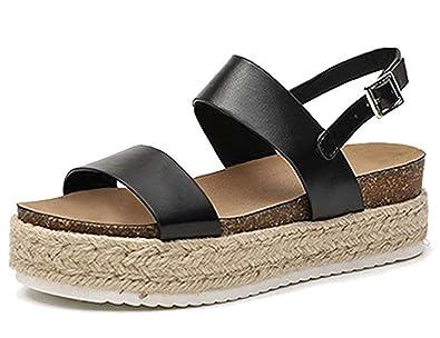 0f6cec33982 Women's Flatform Espadrilles Ankle Buckle Open Toe Slingback Animal Print  Faux Leather Sandals