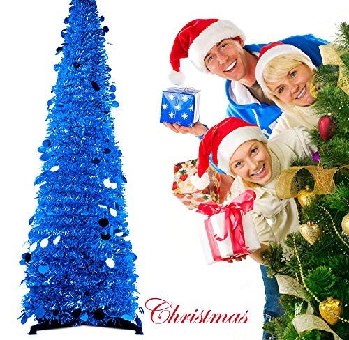 Jusdreen 4.9 Foot Artificial Christmas Pine Tree Xmas Decorations Tree with Black Solid Plastic Support - Blue