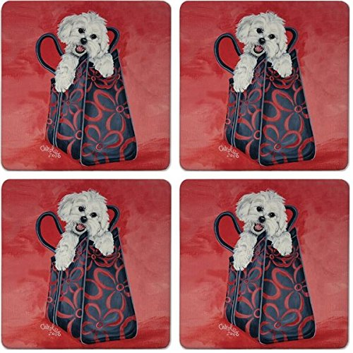 Maltese Coaster (CoasterStone Absorbent Coasters, Maltese Dog (Set of 4), 4-1/4