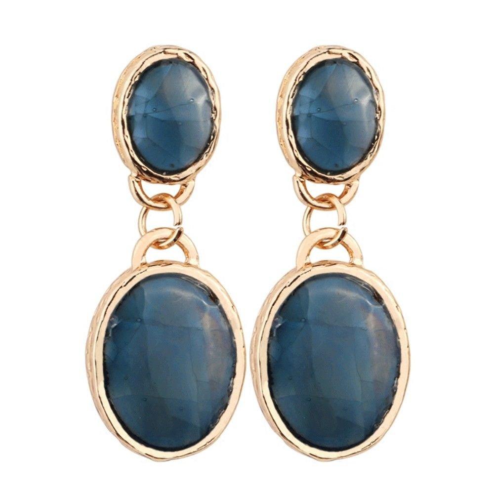 Ling Studs Earrings Hypoallergenic Cartilage Ear Piercing Simple Fashion Earrings Ear Jewelry Oval 925 Sterling Silver Earrings Vintage Stud Earrings Summer, Blue