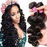 Donmily 8A Remy Brazilian Loose Wave Hair 3 Bundles Bouncy Curl Brazilian Virgin Human Hair Weave Bundles Natural Color (16 18 20) For Sale