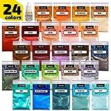 Epoxy Resin Dye - Mica Powder - 24 Powdered Pigments Set - Soap Dye - Hand Soap Making Supplies - Eyeshadow and Lips Makeup Dye - Slime Pigment