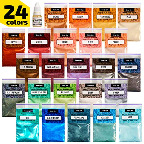Epoxy Resin Dye - Mica Powder - 24 Powdered Pigments Set - Soap Dye - Hand Soap Making Supplies - Eyeshadow and Lips Makeup Dye - Slime Pigment