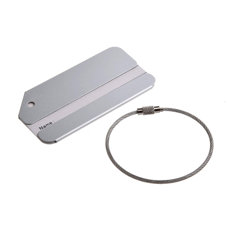 WOVELOT Aluminiumlegierung Adressschild Gepaeckanhaenger Kofferanhaenger Namensschild mit Metallkabel Silber