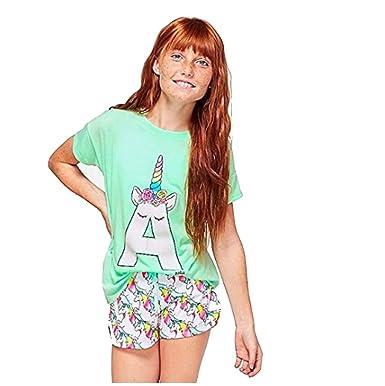 dbf505d31 Amazon.com  Justice Girls Pastel Unicorn Initial Pajama Set (Letter ...