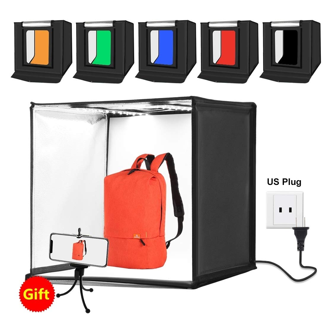 Photo Studio Light Box Portable 60 x 60 x 60 cm Light Tent LED 5500K Mini 60W Photography Studio Tent Kit with 6 Removable Backdrop (Black Orange White Green Blue Red) Durable ( Color : Color4 ) by CAOMING