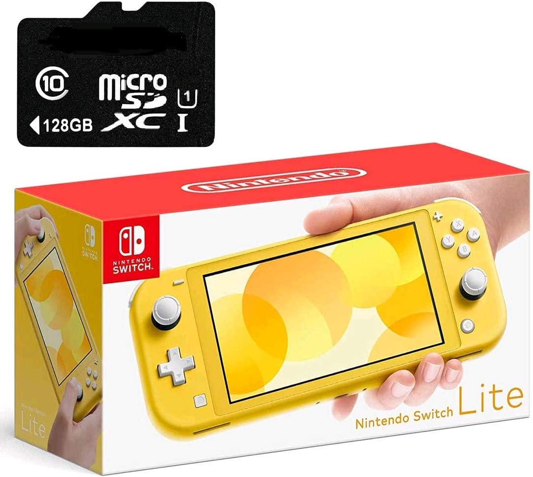 """Newest Nintendo Switch Lite Game Console, Yellow, 5.5"""" Touchscreen, Built-in Plus Control Pad, W/128GB Micro SD Card, Built-in Speakers, 3.5mm Audio Jack"""
