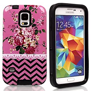 Samsung S5 Hard,Ezydigtal Best Style Layer Hard Shell Case with Soft Protective Outer Layer for Samsung Galaxy S5 i9600-S5-T01(Black)