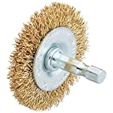 Vermont American 16787 2-Inch Coarse Brass Wire Wheel Brush with 1/4-Inch Hex Shank for Drill