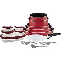 Tefal L2059002 Ingenio Essential Set De 16 Pièces, Tous Feux SAUF Induction, Aluminium, Rouge Bugatti