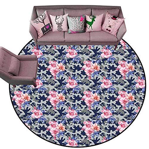 Anti Slip House Kitchen Door Area Rug Camo,Victorian Theme Pink Retro Design Roses Urban Fashion Nature Feminine,Pink Violet Blue Sage Green Diameter 78