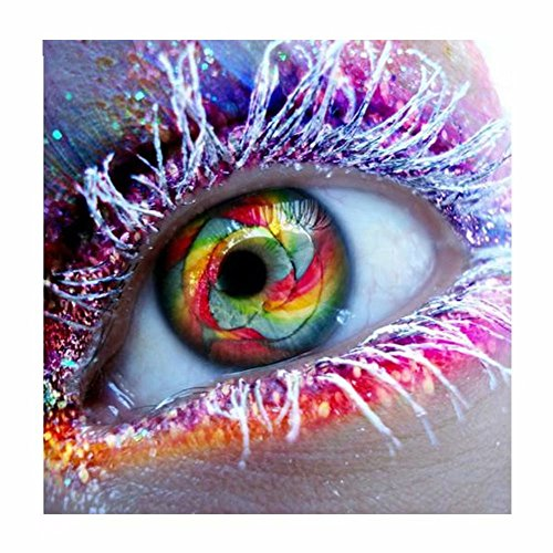 Grace Painter 5D DIY Frosted Eyelashes Cross Stitch Paint by Number Kit Mosaic Colorful Eyeball Rhsinestone Embroidery Painting Wall Art Full Drill Round Diamond Canvas Size:21.7x21.7 inch