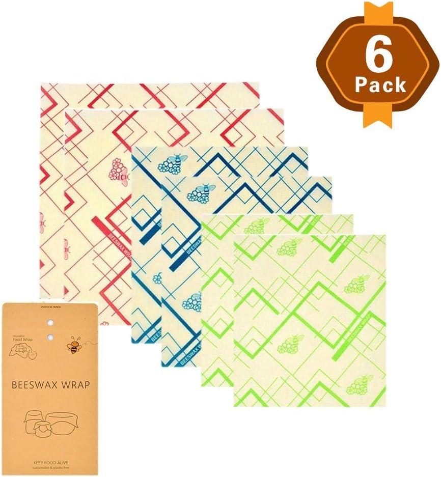 Compra ZXDBK Beeswax Wrap, Conjunto de 6 (2 Pequeño, 2 Mediano y 2 Grande) Envolturas de Alimentos Reutilizables Conveniente para Alternativa A Las Envolturas De Película Adhesiva para Almacenamiento, B en Amazon.es
