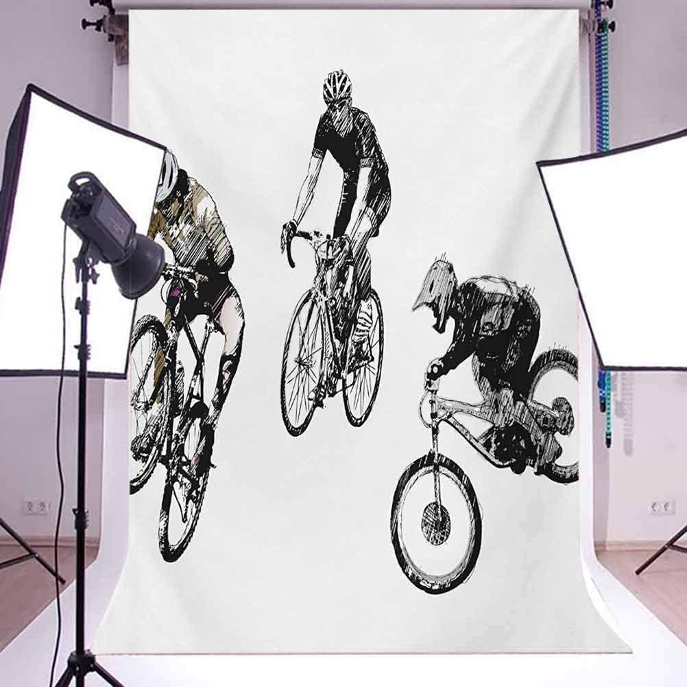 10x15 FT Backdrop Photographers,Hand Drawn Image of Cyclists Bicycle Bikes with Tour De France Theme Outdoors Background for Baby Shower Birthday Wedding Bridal Shower Party Decoration Photo Studio