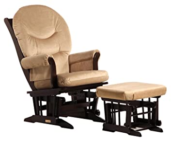 Amazon Com Dutailier Sleigh Glider And Ottoman Combo Espresso Light Brown Baby