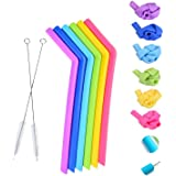 Reusable Silicone Straws by Cozihoma, Extra Long Flexible Bend Smoothies Straws Reusable Drinking Straws for 30 oz Yeti/Rtic Tumblers, Set of 6 PCS Straws and 2 Cleaning Brushes