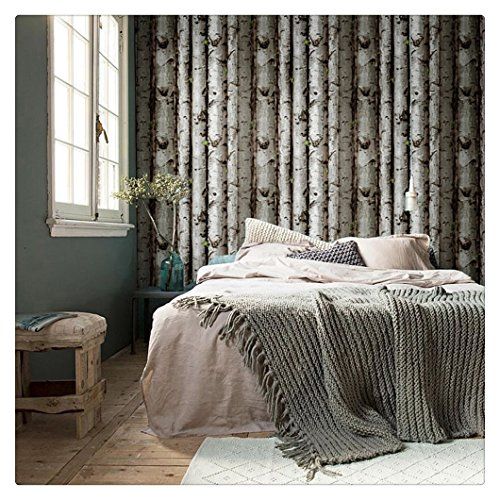 HaokHome 151033 Vintatge Birch Tree Wallpaper Rolls Black/Green/Grey Forest Wood Designer Home Interior Decoration 20.8