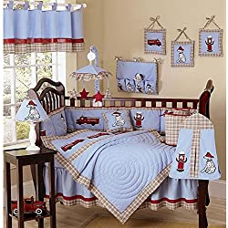 9 Piece Fireman Dog Crib Bedding, Boy's Cute Dalmatian Puppies, Fireman and Trucks - Boys Baby Blue, Red & Beige Firefighter Themed Bedding