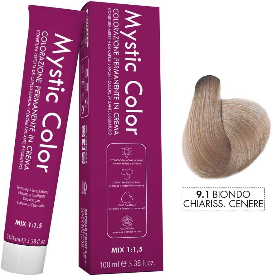Mystic Color - Coloración Permanente en Crema con Aceite de Argán y Caléndula - Color Natural y Duradero - Tono 9.1 Rubio Ceniza Muy Claro - 100 ml