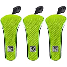 Big Teeth Upgrade Lightweight Mesh Golf Hybrid Head Covers Set Rescue Headcovers Utility Club Protectors with Interchangeable Number Tag (Neo Green)