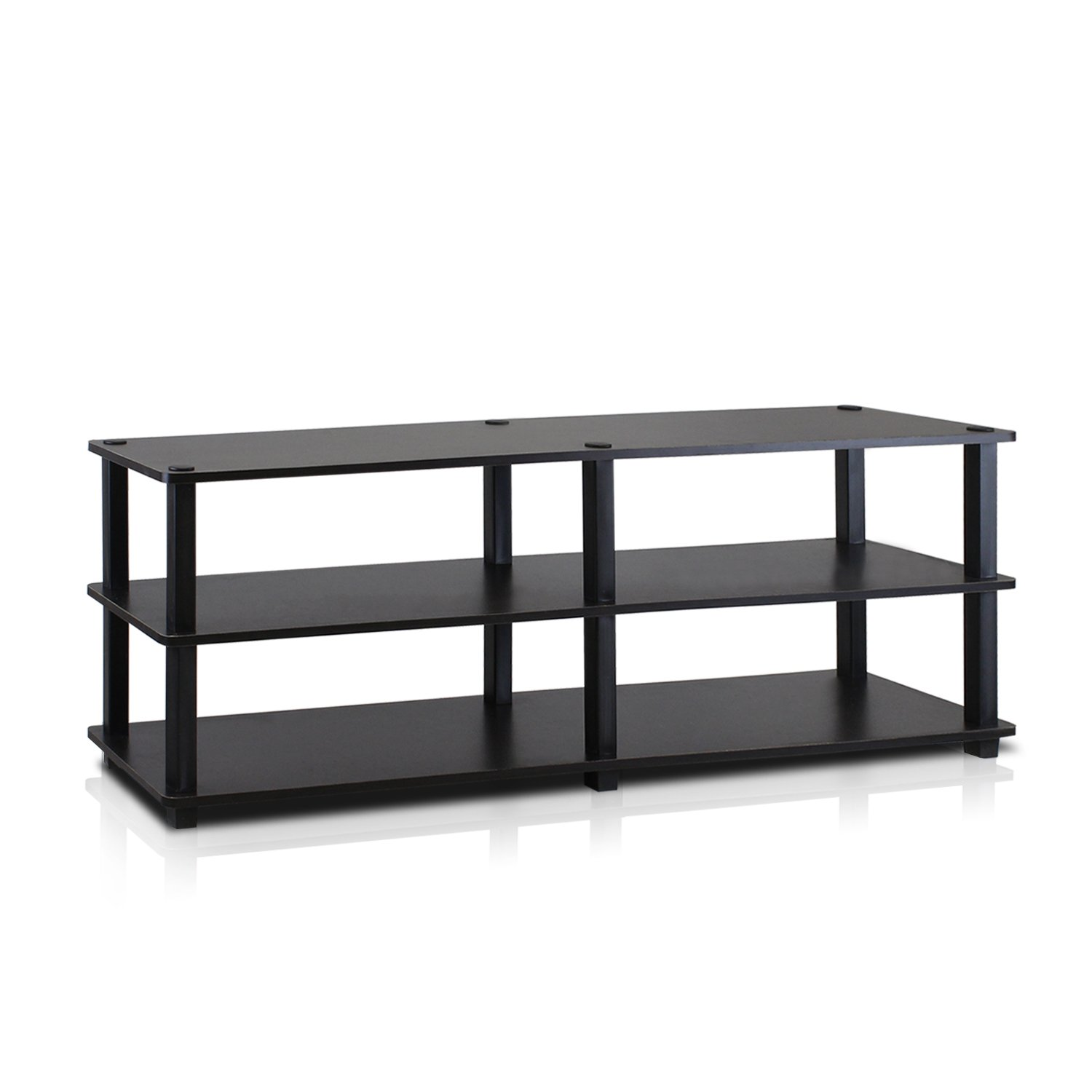 Furinno TV14038EX/BK Turn-S-Tube No Tools 3-Tier Entertainment TV Stands, Espresso/Black by Furinno