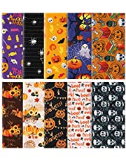 LUTER 10pcs 10x10inch Halloween Theme Fabric, Halloween Fat Quarter Pure Cotton Fabric Bundle for DIY Decorations Sewing Crafts Festival Series Supplies Patchwork