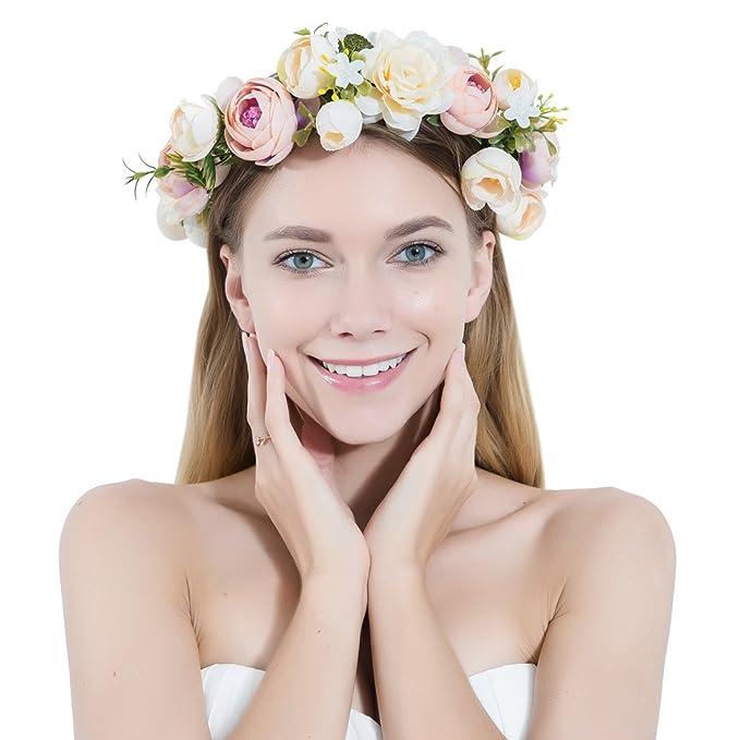 c5eb3dbb9 Flower Crown Headband Garland Bohemian Bridal Flower Wreath Wedding  Headpiece for Women Girls Hair Accessories Festival Wedding Party:  Amazon.co.uk: ...