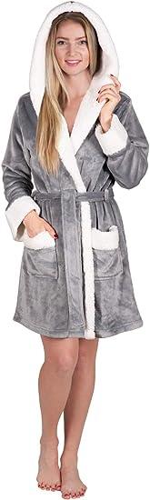 Girls Women/'s SOFT/&COZY HOODED FLEECE DRESSING GOWN BATHROBE ROBE PLUS SIZES-XL