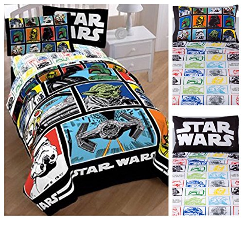 Star Wars Classic 4 Piece Bed in a Bag Twin Bedding Set - Reversible Comforter, Sheets and Pillow Case by Disney